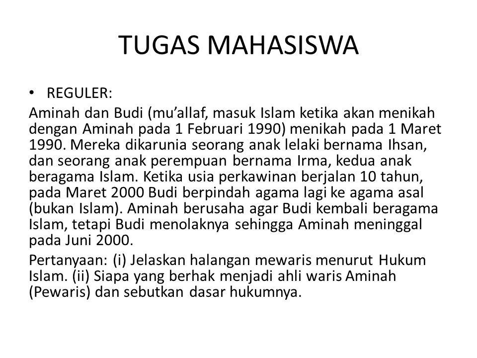 TUGAS MAHASISWA REGULER: Aminah dan Budi (mu'allaf, masuk Islam ketika akan menikah dengan Aminah pada 1 Februari 1990) menikah pada 1 Maret 1990. Mer