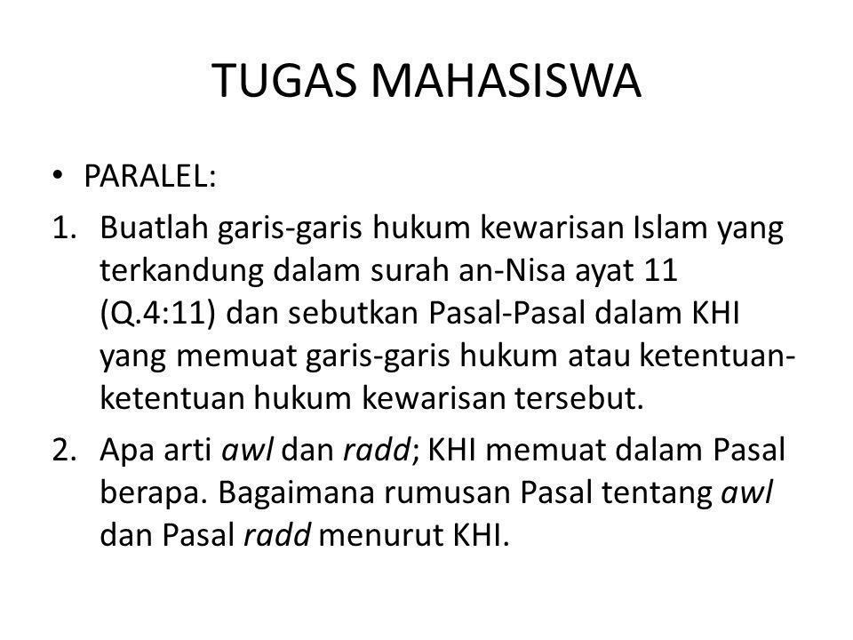 TUGAS MAHASISWA PARALEL: 1.Buatlah garis-garis hukum kewarisan Islam yang terkandung dalam surah an-Nisa ayat 11 (Q.4:11) dan sebutkan Pasal-Pasal dal