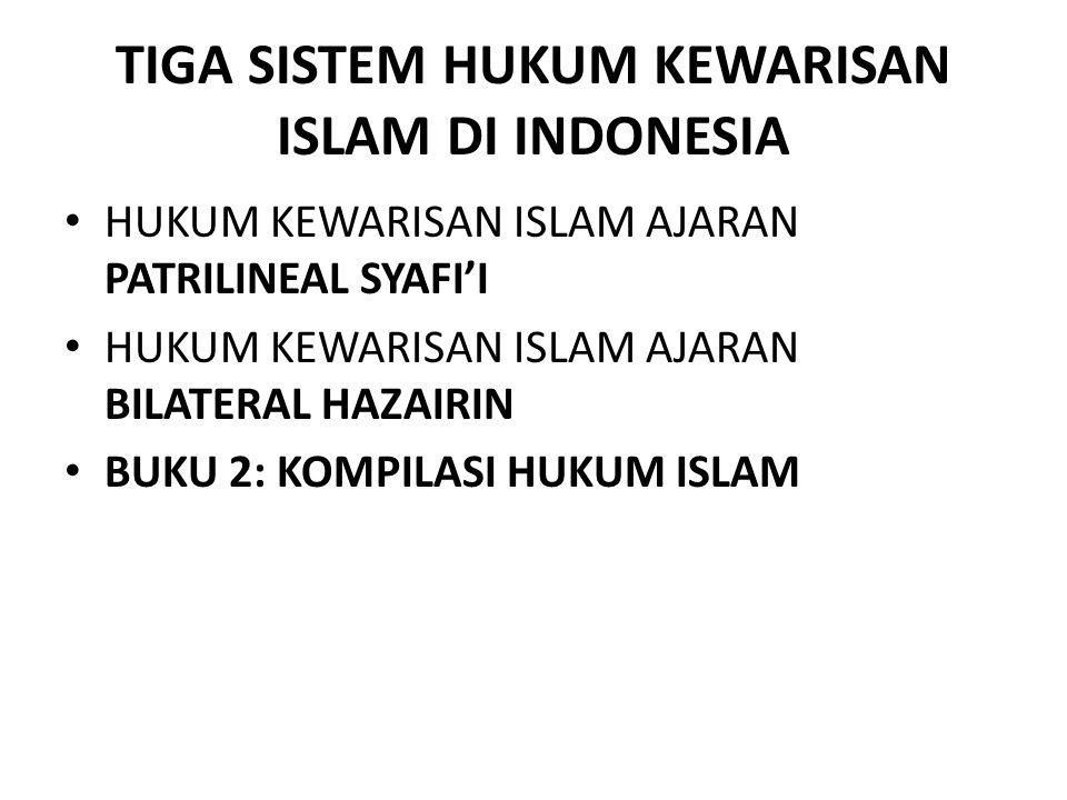 TIGA SISTEM HUKUM KEWARISAN ISLAM DI INDONESIA HUKUM KEWARISAN ISLAM AJARAN PATRILINEAL SYAFI'I HUKUM KEWARISAN ISLAM AJARAN BILATERAL HAZAIRIN BUKU 2
