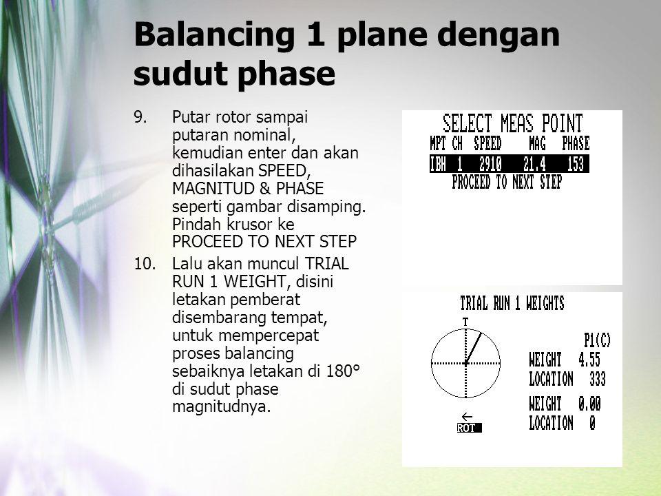 Balancing 1 plane dengan sudut phase 9.Putar rotor sampai putaran nominal, kemudian enter dan akan dihasilakan SPEED, MAGNITUD & PHASE seperti gambar