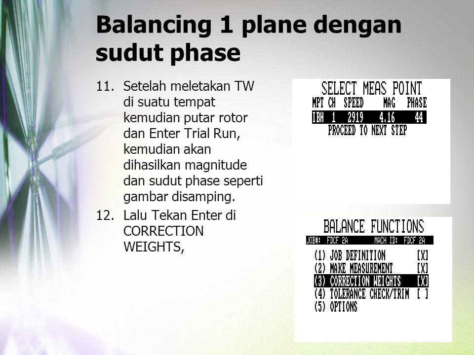 Balancing 1 plane dengan sudut phase 11.Setelah meletakan TW di suatu tempat kemudian putar rotor dan Enter Trial Run, kemudian akan dihasilkan magnit