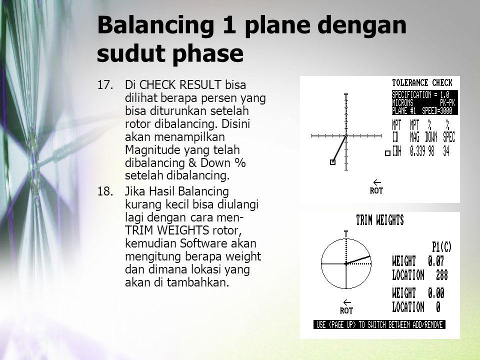 Balancing 1 plane dengan sudut phase 17.Di CHECK RESULT bisa dilihat berapa persen yang bisa diturunkan setelah rotor dibalancing. Disini akan menampi
