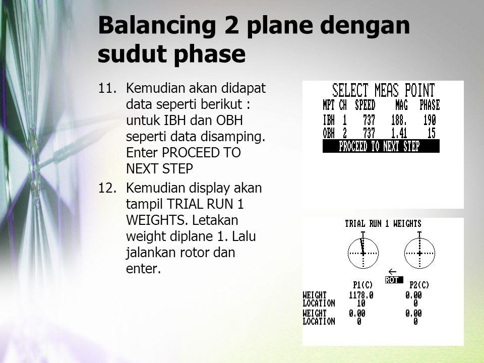 Balancing 2 plane dengan sudut phase 11.Kemudian akan didapat data seperti berikut : untuk IBH dan OBH seperti data disamping. Enter PROCEED TO NEXT S