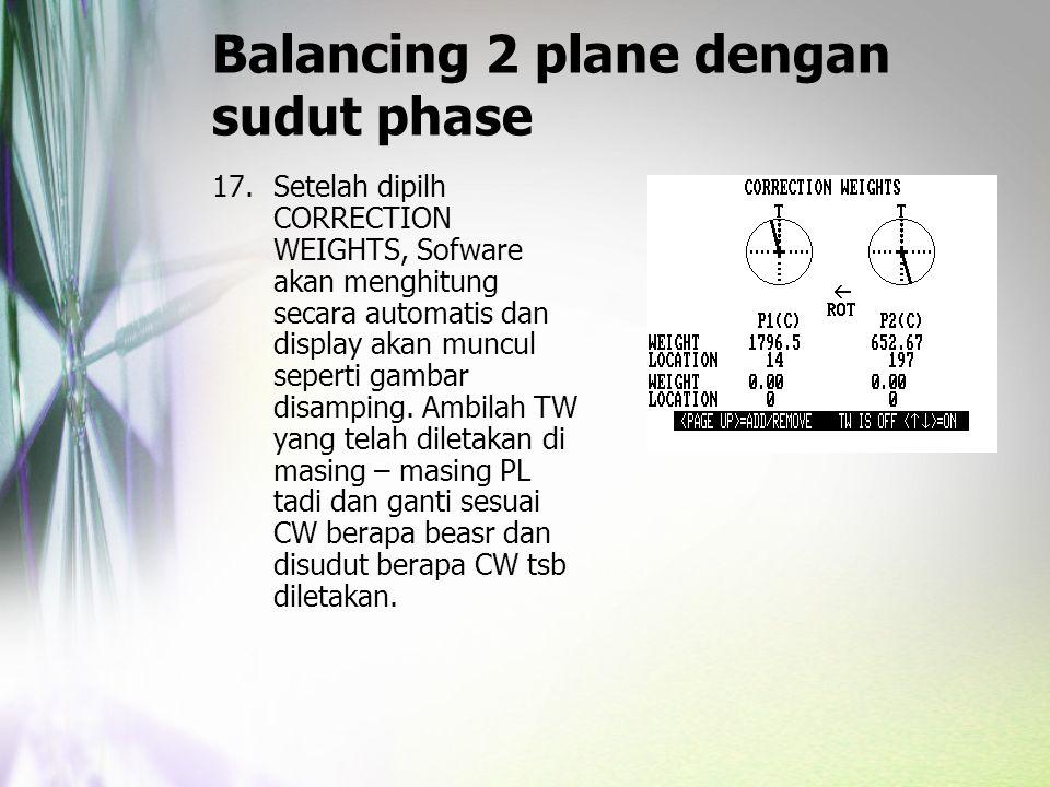 Balancing 2 plane dengan sudut phase 17.Setelah dipilh CORRECTION WEIGHTS, Sofware akan menghitung secara automatis dan display akan muncul seperti ga