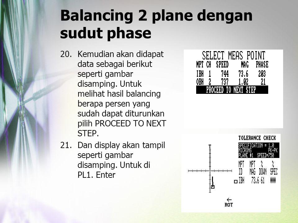 Balancing 2 plane dengan sudut phase 20.Kemudian akan didapat data sebagai berikut seperti gambar disamping. Untuk melihat hasil balancing berapa pers