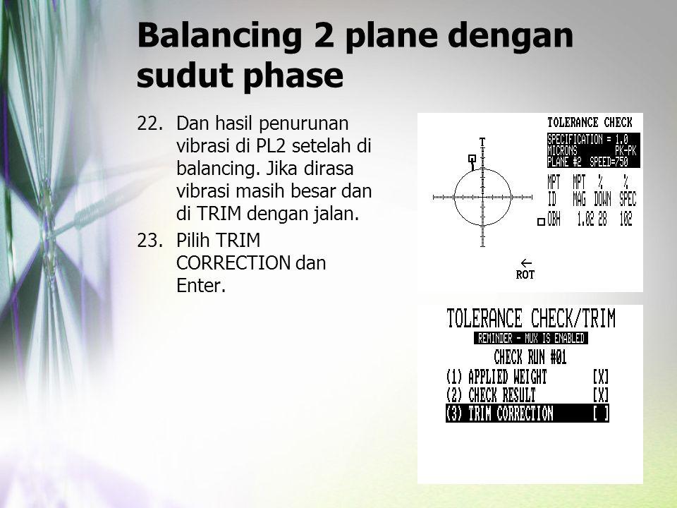 Balancing 2 plane dengan sudut phase 22.Dan hasil penurunan vibrasi di PL2 setelah di balancing. Jika dirasa vibrasi masih besar dan di TRIM dengan ja