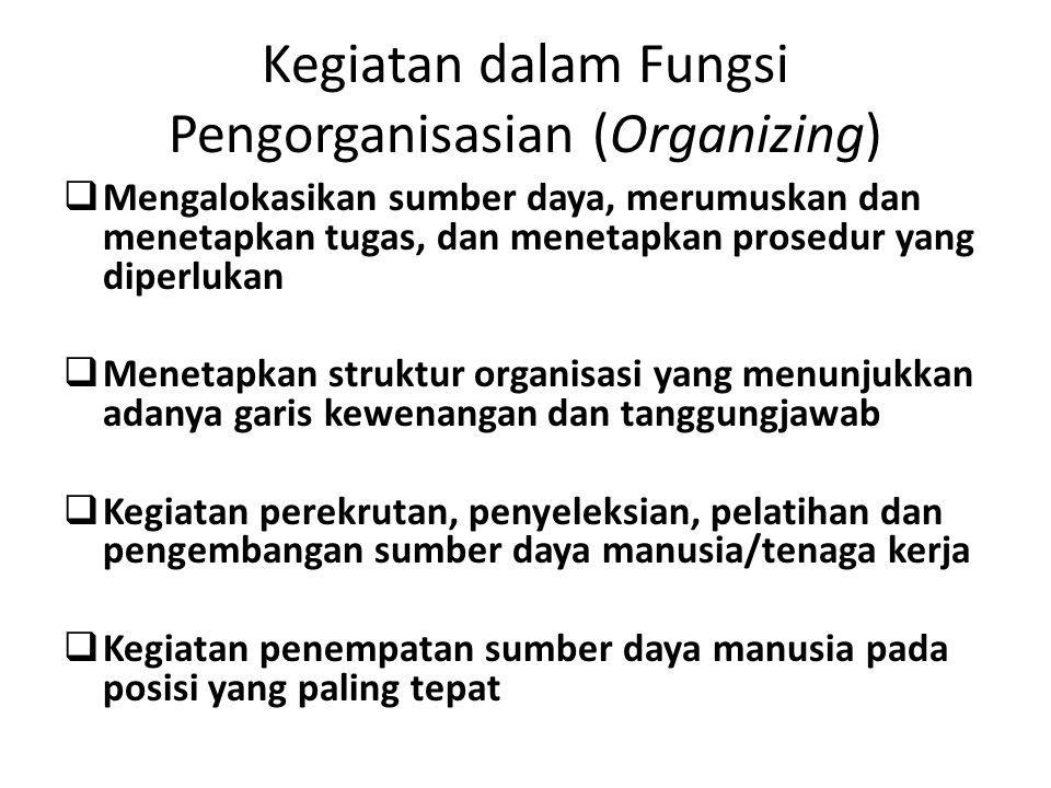 Kegiatan dalam Fungsi Pengorganisasian (Organizing)  Mengalokasikan sumber daya, merumuskan dan menetapkan tugas, dan menetapkan prosedur yang diperl