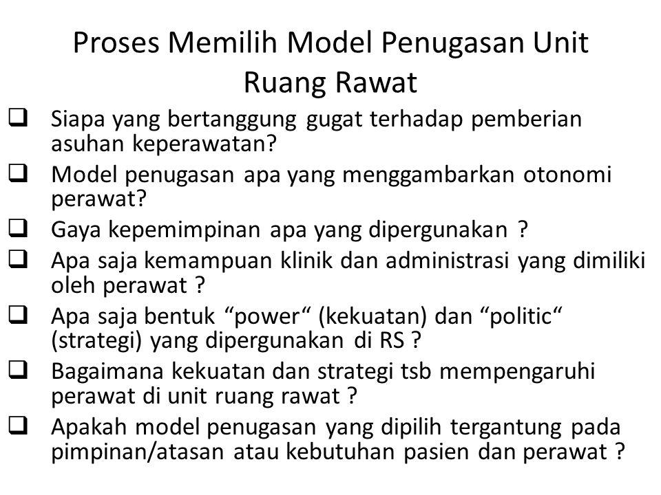 Proses Memilih Model Penugasan Unit Ruang Rawat  Siapa yang bertanggung gugat terhadap pemberian asuhan keperawatan?  Model penugasan apa yang mengg