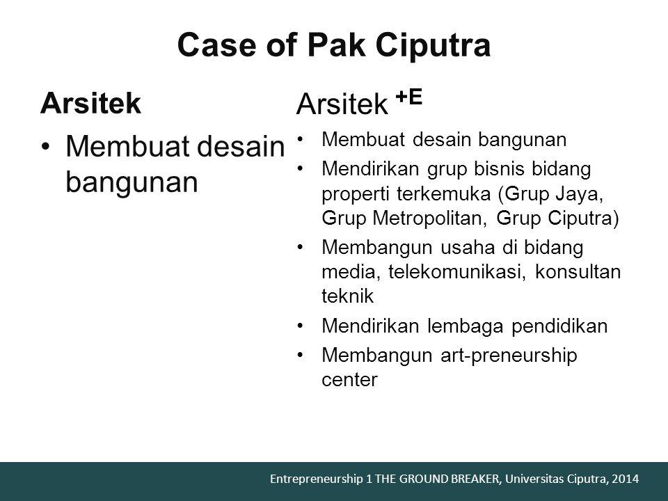 Entrepreneurship 1 THE GROUND BREAKER, Universitas Ciputra, 2014 problems..??
