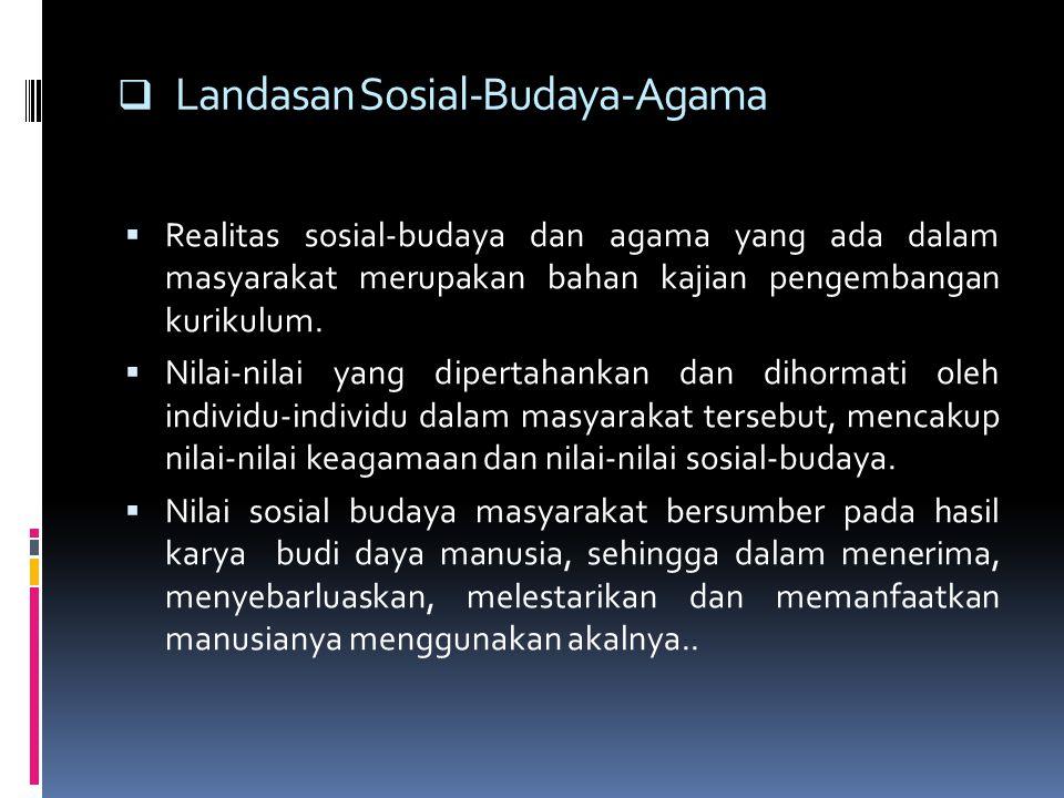  Landasan Sosial-Budaya-Agama  Realitas sosial-budaya dan agama yang ada dalam masyarakat merupakan bahan kajian pengembangan kurikulum.