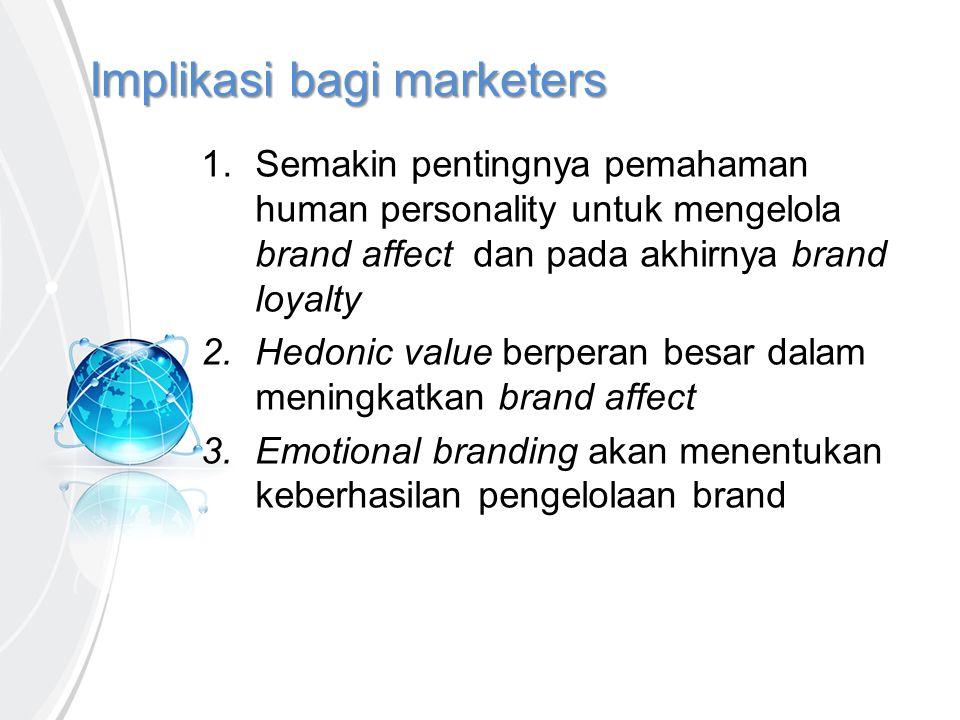 Implikasi bagi marketers 1. Semakin pentingnya pemahaman human personality untuk mengelola brand affect dan pada akhirnya brand loyalty 2.Hedonic valu