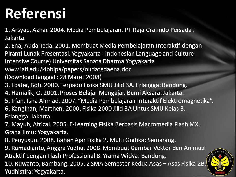 Referensi 1. Arsyad, Azhar. 2004. Media Pembelajaran. PT Raja Grafindo Persada : Jakarta. 2. Ena, Auda Teda. 2001. Membuat Media Pembelajaran Interakt