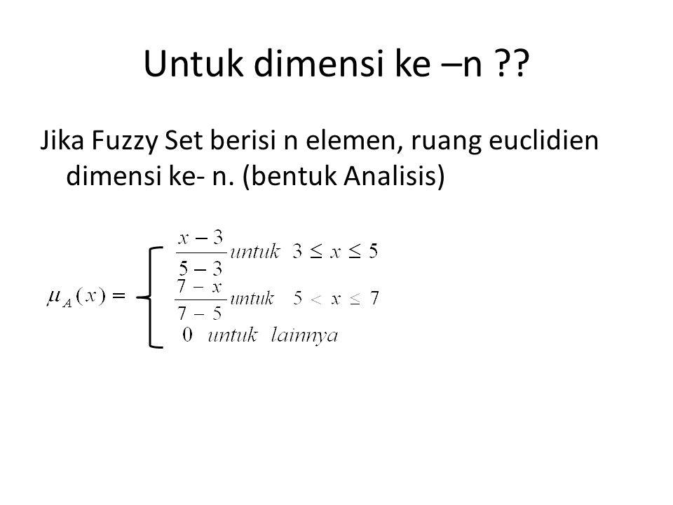 Untuk dimensi ke –n ?? Jika Fuzzy Set berisi n elemen, ruang euclidien dimensi ke- n. (bentuk Analisis)