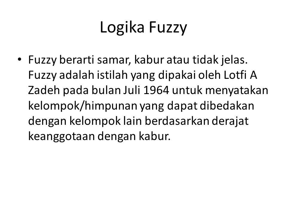 Logika Fuzzy Fuzzy berarti samar, kabur atau tidak jelas. Fuzzy adalah istilah yang dipakai oleh Lotfi A Zadeh pada bulan Juli 1964 untuk menyatakan k