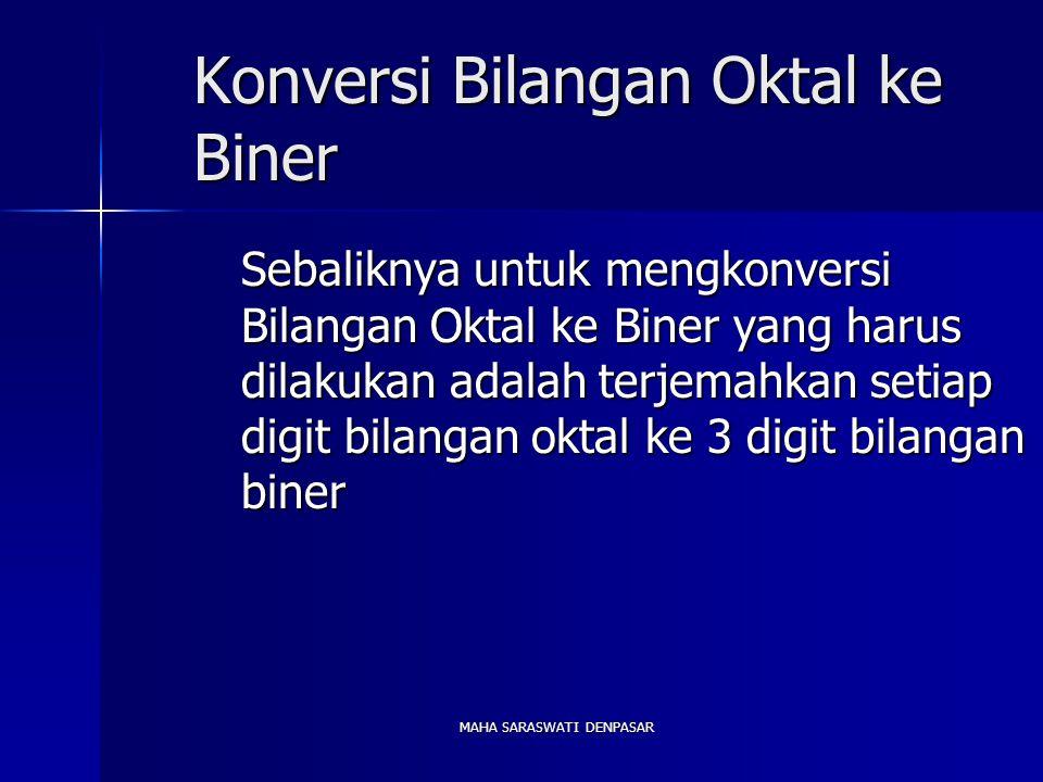 MAHA SARASWATI DENPASAR Konversi Bilangan Oktal ke Biner Sebaliknya untuk mengkonversi Bilangan Oktal ke Biner yang harus dilakukan adalah terjemahkan