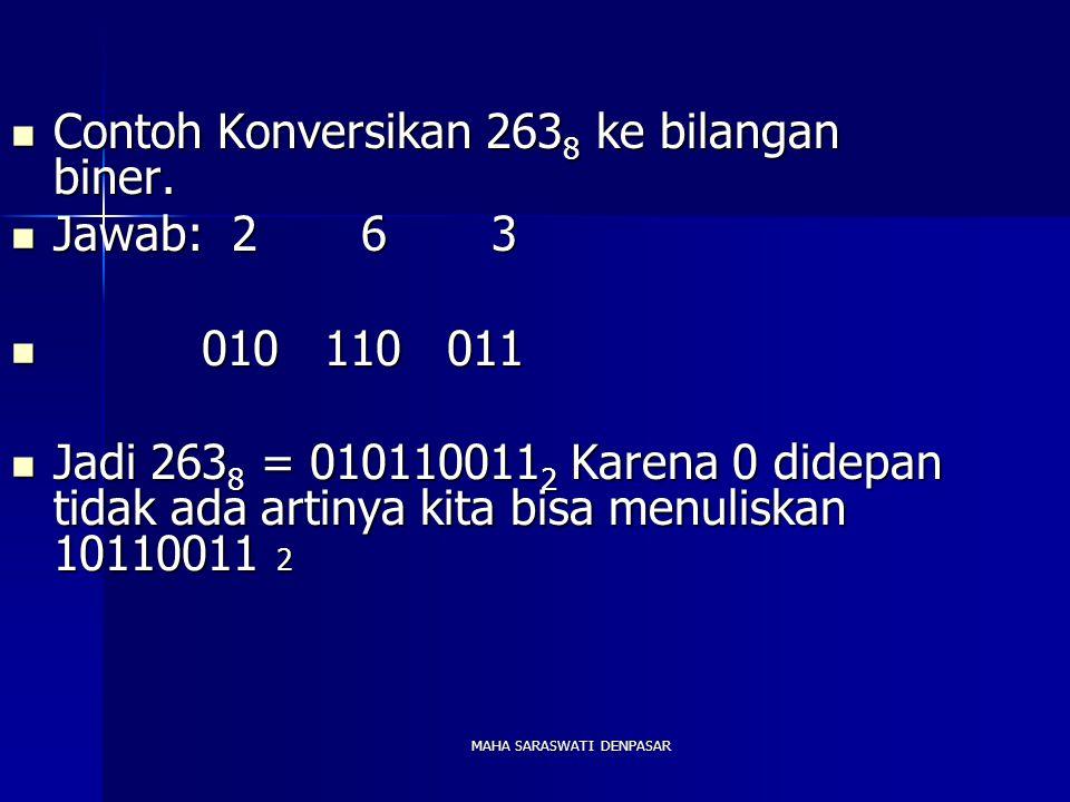 MAHA SARASWATI DENPASAR Contoh Konversikan 263 8 ke bilangan biner. Contoh Konversikan 263 8 ke bilangan biner. Jawab: 2 6 3 Jawab: 2 6 3 010 110 011