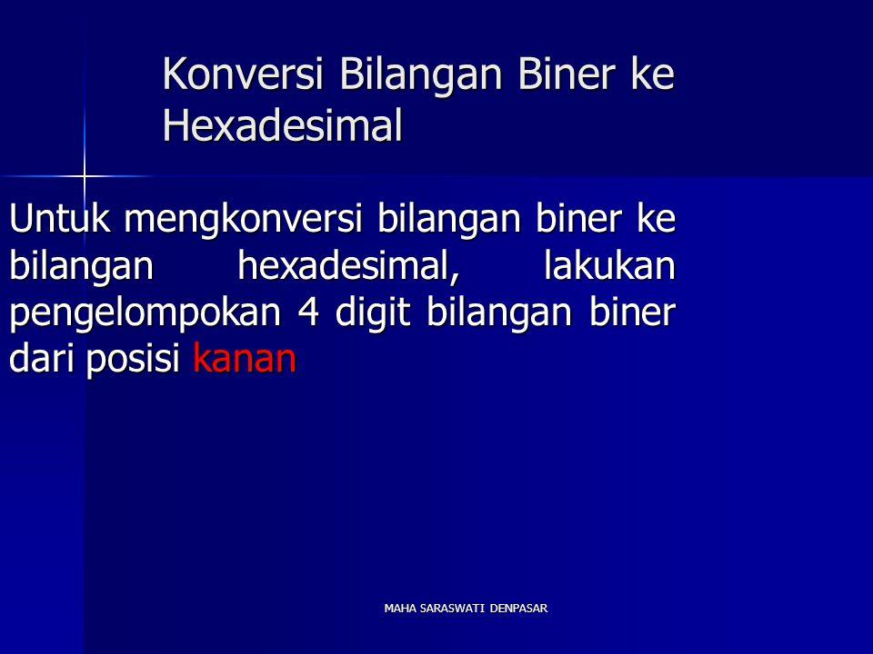 MAHA SARASWATI DENPASAR Konversi Bilangan Biner ke Hexadesimal Untuk mengkonversi bilangan biner ke bilangan hexadesimal, lakukan pengelompokan 4 digit bilangan biner dari posisi kanan