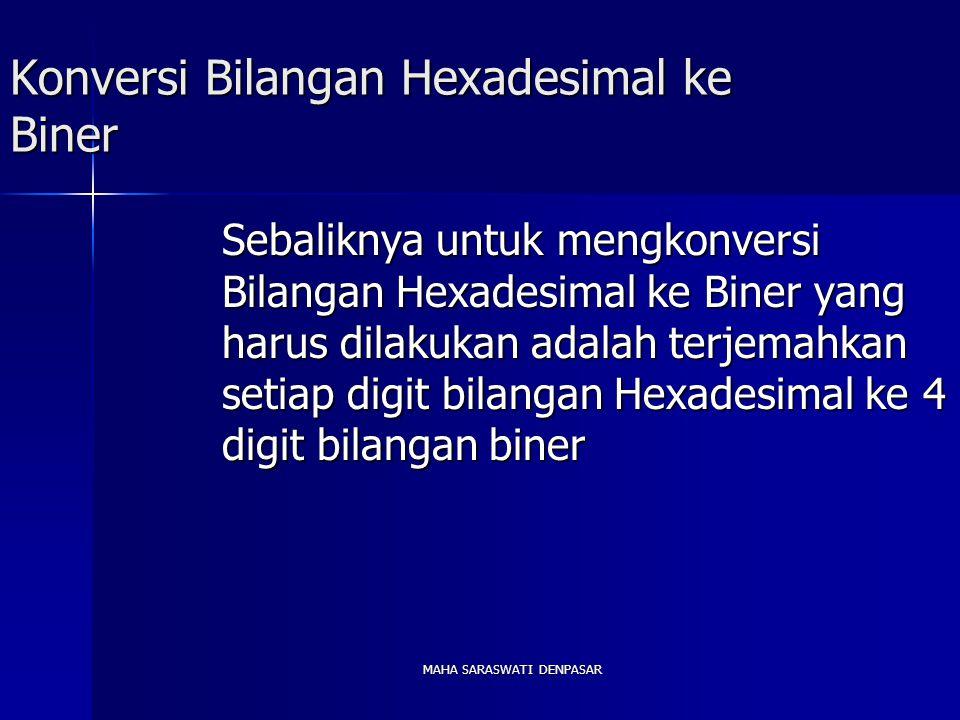 MAHA SARASWATI DENPASAR Konversi Bilangan Hexadesimal ke Biner Sebaliknya untuk mengkonversi Bilangan Hexadesimal ke Biner yang harus dilakukan adalah terjemahkan setiap digit bilangan Hexadesimal ke 4 digit bilangan biner