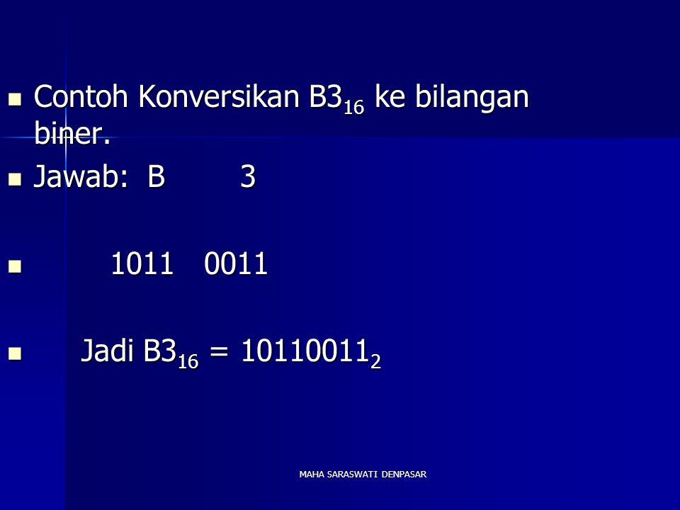 MAHA SARASWATI DENPASAR Contoh Konversikan B3 16 ke bilangan biner. Contoh Konversikan B3 16 ke bilangan biner. Jawab: B 3 Jawab: B 3 1011 0011 1011 0