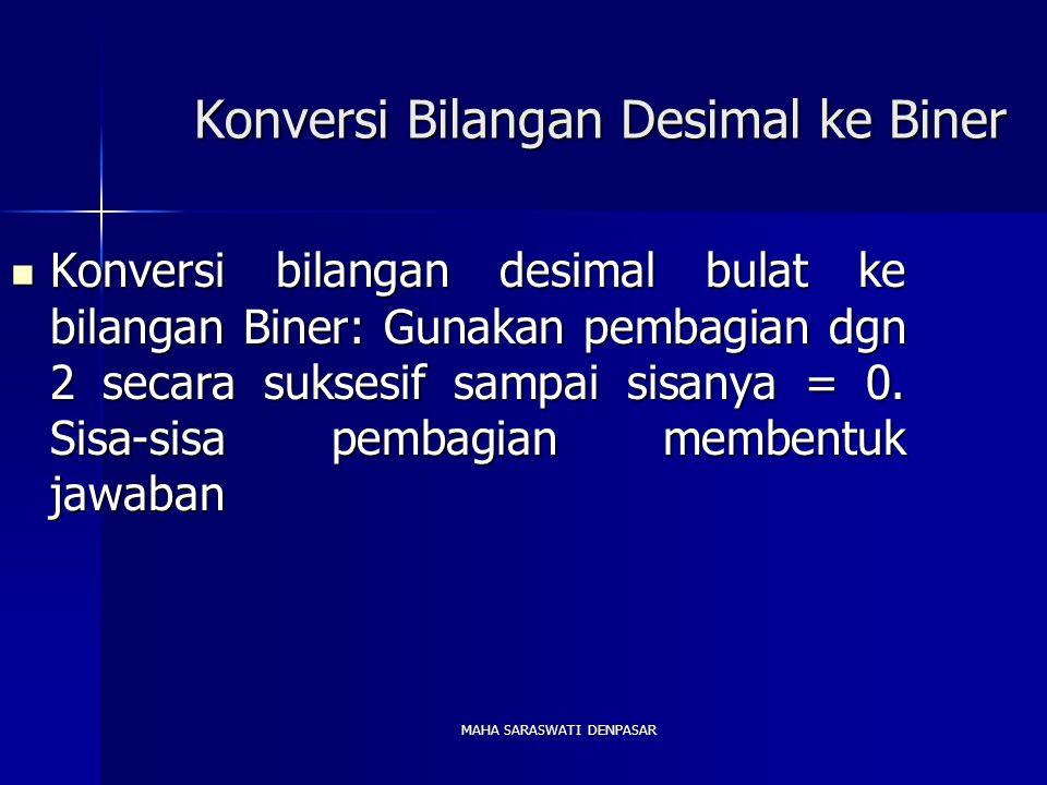 MAHA SARASWATI DENPASAR Konversi Bilangan Desimal ke Biner Konversi bilangan desimal bulat ke bilangan Biner: Gunakan pembagian dgn 2 secara suksesif sampai sisanya = 0.