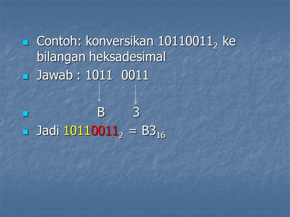 Contoh: konversikan 10110011 2 ke bilangan heksadesimal Contoh: konversikan 10110011 2 ke bilangan heksadesimal Jawab : 1011 0011 Jawab : 1011 0011 B 3 B 3 Jadi 10110011 2 = B3 16 Jadi 10110011 2 = B3 16