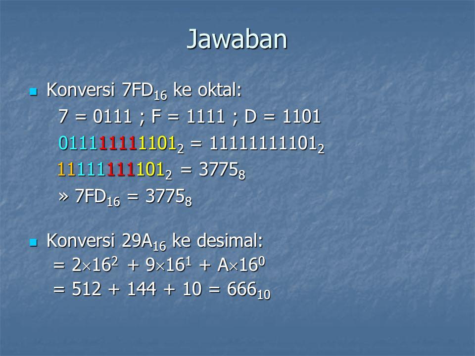 Jawaban Konversi 7FD 16 ke oktal: Konversi 7FD 16 ke oktal: 7 = 0111 ; F = 1111 ; D = 1101 7 = 0111 ; F = 1111 ; D = 1101 011111111101 2 = 11111111101 2 011111111101 2 = 11111111101 2 11111111101 2 = 3775 8 11111111101 2 = 3775 8 » 7FD 16 = 3775 8 » 7FD 16 = 3775 8 Konversi 29A 16 ke desimal: Konversi 29A 16 ke desimal: = 2  16 2 + 9  16 1 + A  16 0 = 512 + 144 + 10 = 666 10