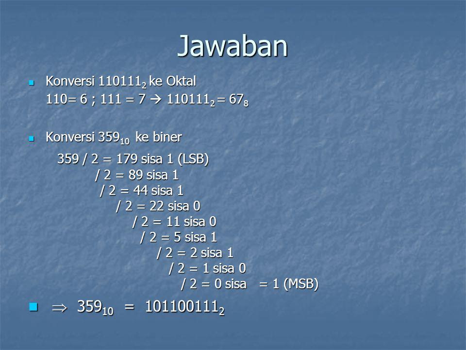 Jawaban Konversi 110111 2 ke Oktal Konversi 110111 2 ke Oktal 110= 6 ; 111 = 7  110111 2 = 67 8 Konversi 359 10 ke biner Konversi 359 10 ke biner 359 / 2 = 179 sisa 1 (LSB) 359 / 2 = 179 sisa 1 (LSB) / 2 = 89 sisa 1 / 2 = 89 sisa 1 / 2 = 44 sisa 1 / 2 = 44 sisa 1 / 2 = 22 sisa 0 / 2 = 22 sisa 0 / 2 = 11 sisa 0 / 2 = 11 sisa 0 / 2 = 5 sisa 1 / 2 = 5 sisa 1 / 2 = 2 sisa 1 / 2 = 2 sisa 1 / 2 = 1 sisa 0 / 2 = 1 sisa 0 / 2 = 0 sisa = 1 (MSB) / 2 = 0 sisa = 1 (MSB)  359 10 = 101100111 2  359 10 = 101100111 2