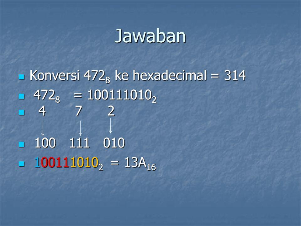 Jawaban Konversi 472 8 ke hexadecimal = 314 Konversi 472 8 ke hexadecimal = 314 472 8 = 100111010 2 472 8 = 100111010 2 4 7 2 4 7 2 100 111 010 100 111 010 100111010 2 = 13A 16 100111010 2 = 13A 16