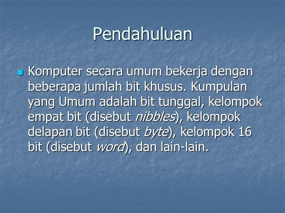 Pendahuluan Komputer secara umum bekerja dengan beberapa jumlah bit khusus.