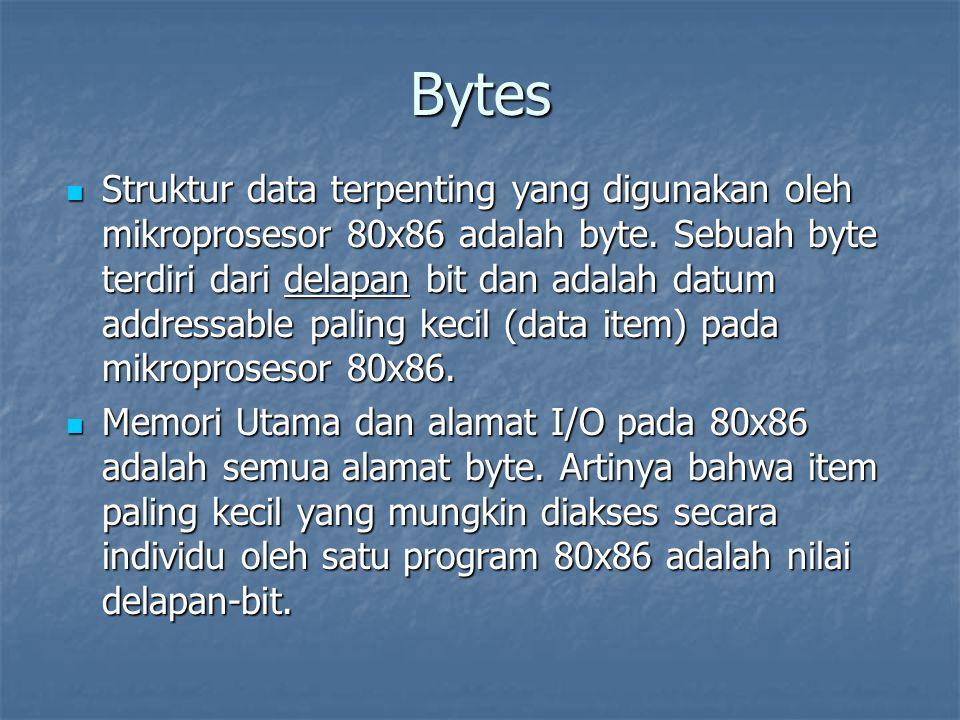 Bytes Struktur data terpenting yang digunakan oleh mikroprosesor 80x86 adalah byte. Sebuah byte terdiri dari delapan bit dan adalah datum addressable