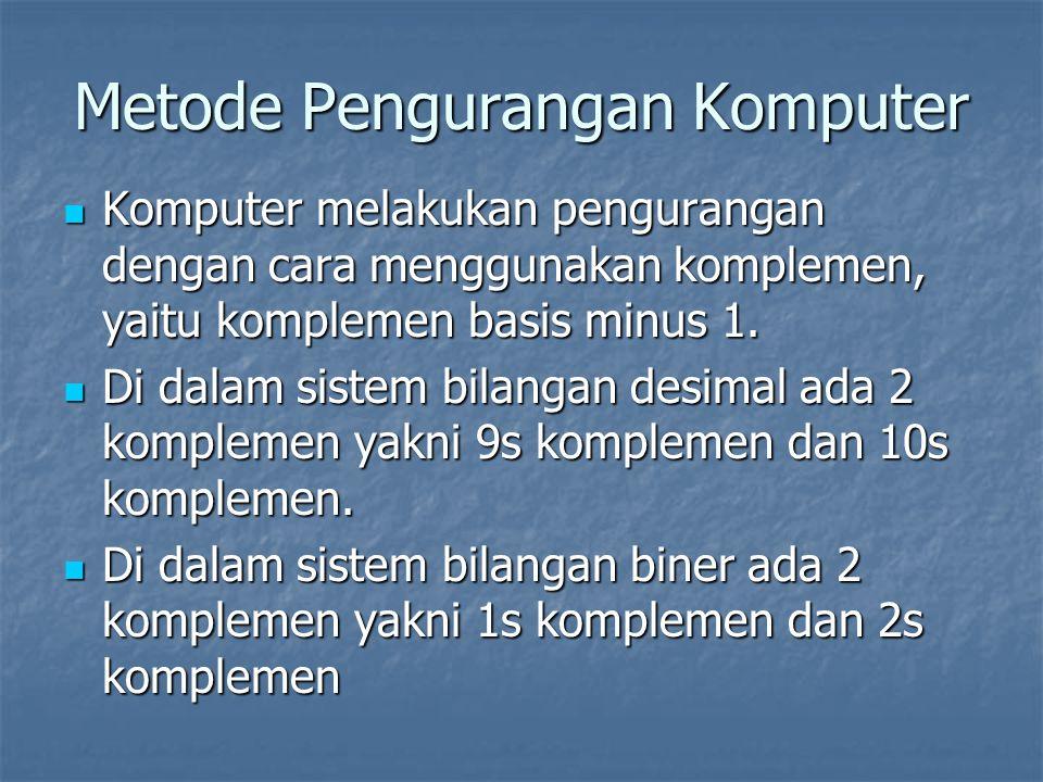 Metode Pengurangan Komputer Komputer melakukan pengurangan dengan cara menggunakan komplemen, yaitu komplemen basis minus 1.