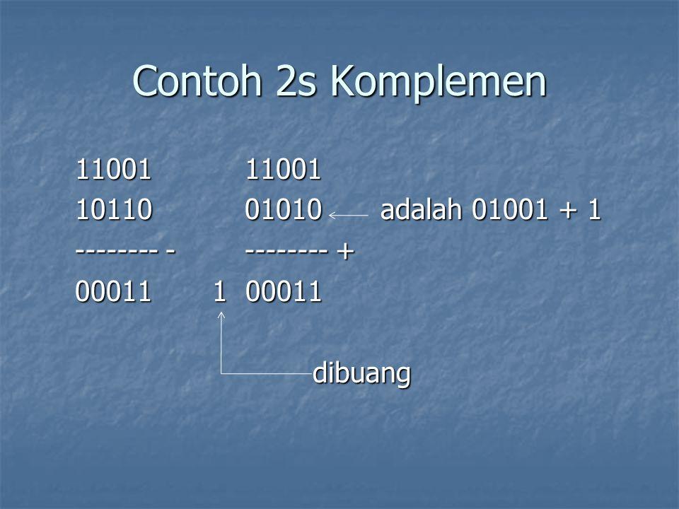 Contoh 2s Komplemen 1100111001 1011001010adalah 01001 + 1 -------- --------- + 00011 1 00011 dibuang