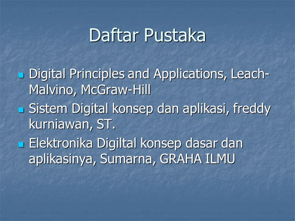 Daftar Pustaka Digital Principles and Applications, Leach- Malvino, McGraw-Hill Digital Principles and Applications, Leach- Malvino, McGraw-Hill Sistem Digital konsep dan aplikasi, freddy kurniawan, ST.