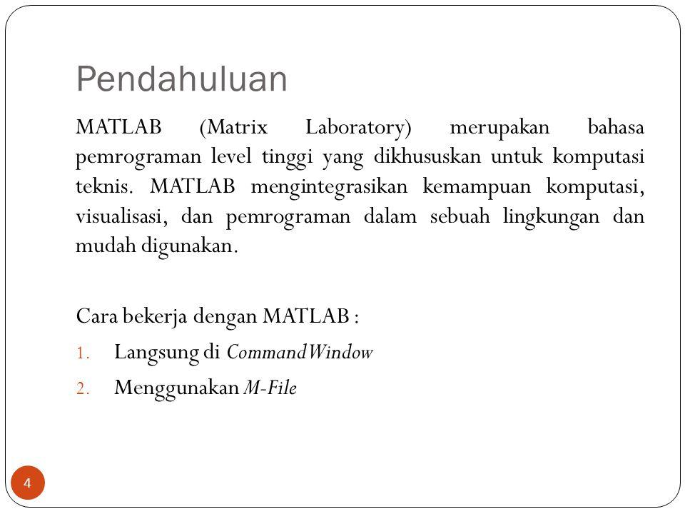 Pendahuluan MATLAB (Matrix Laboratory) merupakan bahasa pemrograman level tinggi yang dikhususkan untuk komputasi teknis. MATLAB mengintegrasikan kema