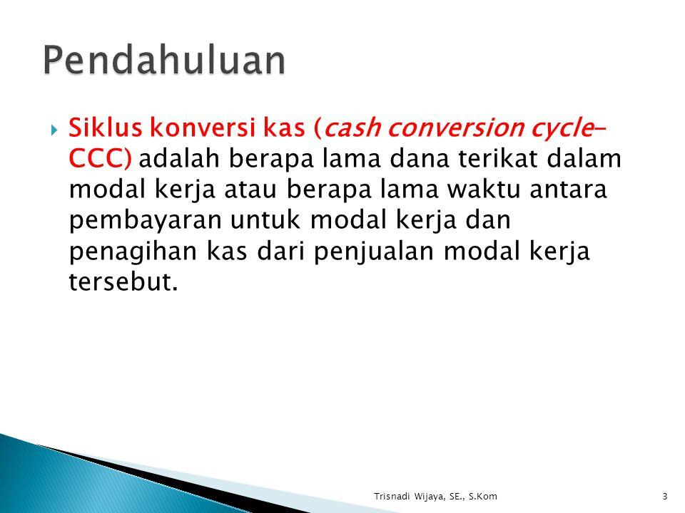  Siklus konversi kas (cash conversion cycle- CCC) adalah berapa lama dana terikat dalam modal kerja atau berapa lama waktu antara pembayaran untuk mo