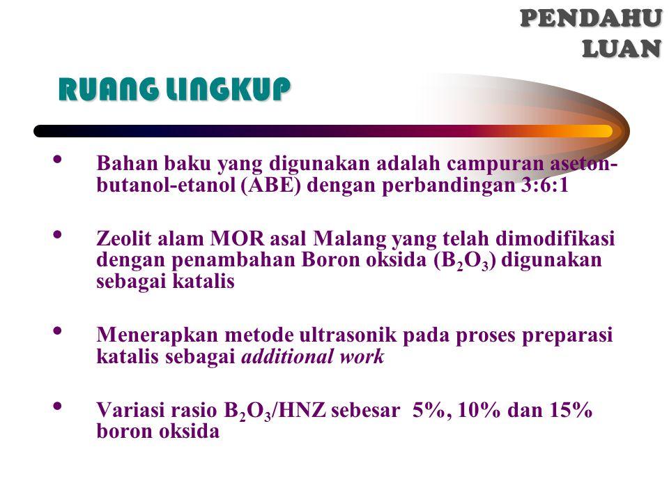 RUANG LINGKUP Bahan baku yang digunakan adalah campuran aseton- butanol-etanol (ABE) dengan perbandingan 3:6:1 Zeolit alam MOR asal Malang yang telah dimodifikasi dengan penambahan Boron oksida (B 2 O 3 ) digunakan sebagai katalis Menerapkan metode ultrasonik pada proses preparasi katalis sebagai additional work Variasi rasio B 2 O 3 /HNZ sebesar 5%, 10% dan 15% boron oksida I.