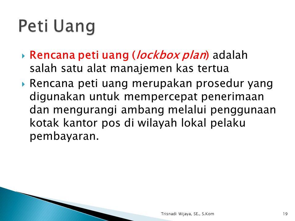  Rencana peti uang (lockbox plan) adalah salah satu alat manajemen kas tertua  Rencana peti uang merupakan prosedur yang digunakan untuk mempercepat