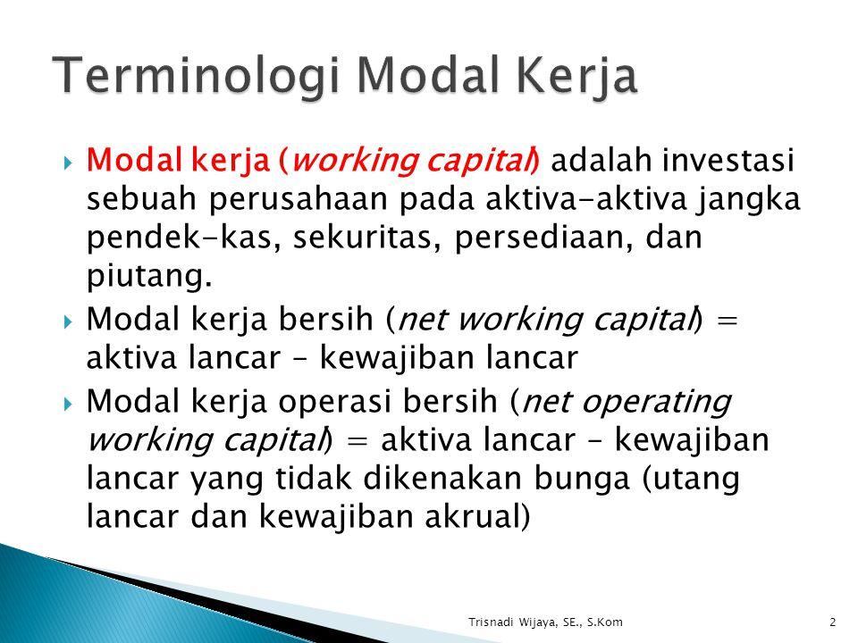  Modal kerja (working capital) adalah investasi sebuah perusahaan pada aktiva-aktiva jangka pendek-kas, sekuritas, persediaan, dan piutang.  Modal k