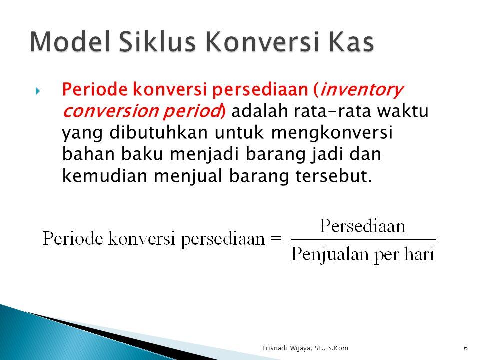  Periode konversi persediaan (inventory conversion period) adalah rata-rata waktu yang dibutuhkan untuk mengkonversi bahan baku menjadi barang jadi d