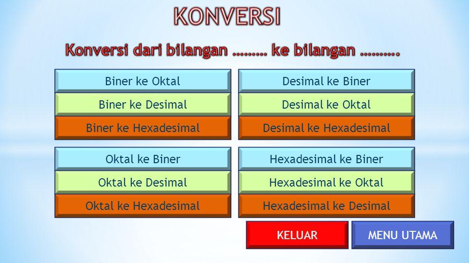 MENU UTAMA Biner ke Oktal Biner ke Desimal Biner ke Hexadesimal Oktal ke Biner Oktal ke Desimal Oktal ke Hexadesimal Desimal ke Biner Desimal ke Oktal