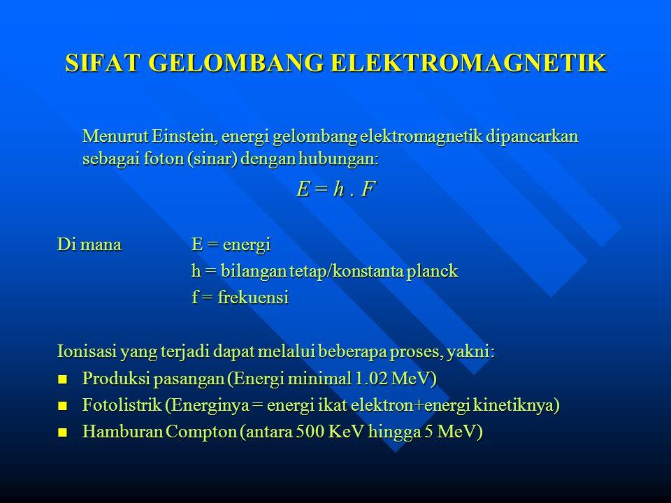 SIFAT GELOMBANG ELEKTROMAGNETIK Menurut Einstein, energi gelombang elektromagnetik dipancarkan sebagai foton (sinar) dengan hubungan: E = h. F Di mana