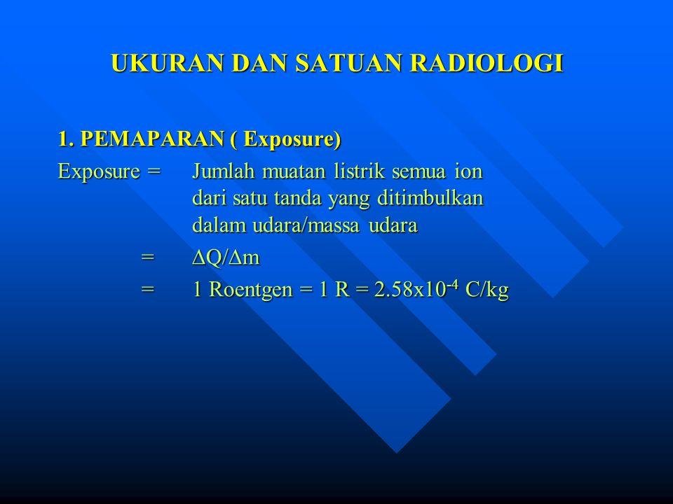 UKURAN DAN SATUAN RADIOLOGI 1. PEMAPARAN ( Exposure) Exposure = Jumlah muatan listrik semua ion dari satu tanda yang ditimbulkan dalam udara/massa uda
