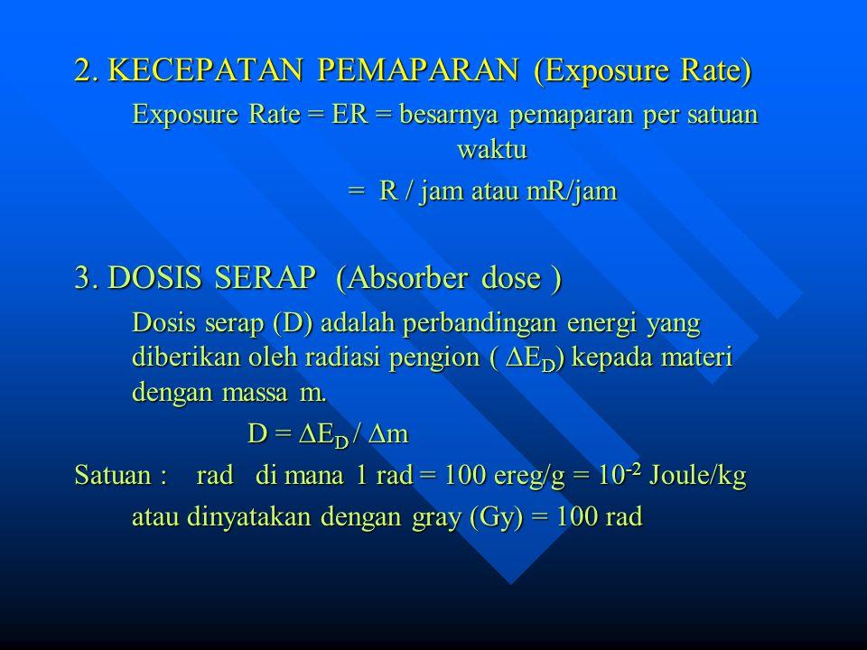 2. KECEPATAN PEMAPARAN (Exposure Rate) Exposure Rate = ER = besarnya pemaparan per satuan waktu = R / jam atau mR/jam = R / jam atau mR/jam 3. DOSIS S