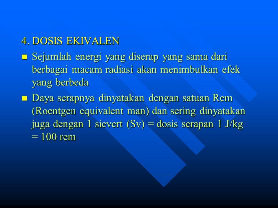 4. DOSIS EKIVALEN Sejumlah energi yang diserap yang sama dari berbagai macam radiasi akan menimbulkan efek yang berbeda Sejumlah energi yang diserap y