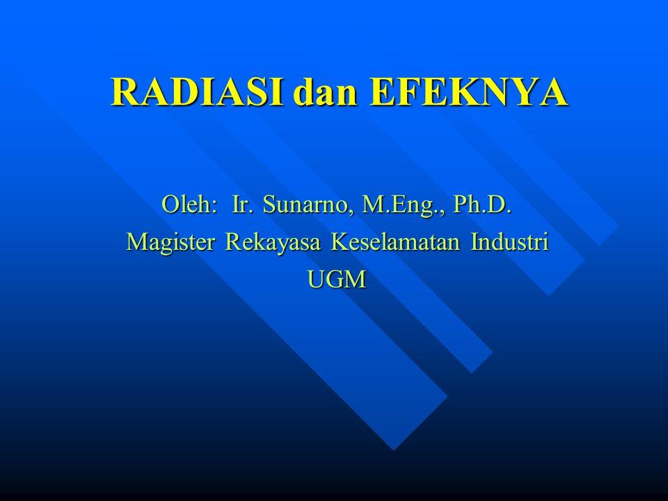 RADIASI dan EFEKNYA Oleh: Ir. Sunarno, M.Eng., Ph.D. Magister Rekayasa Keselamatan Industri UGM