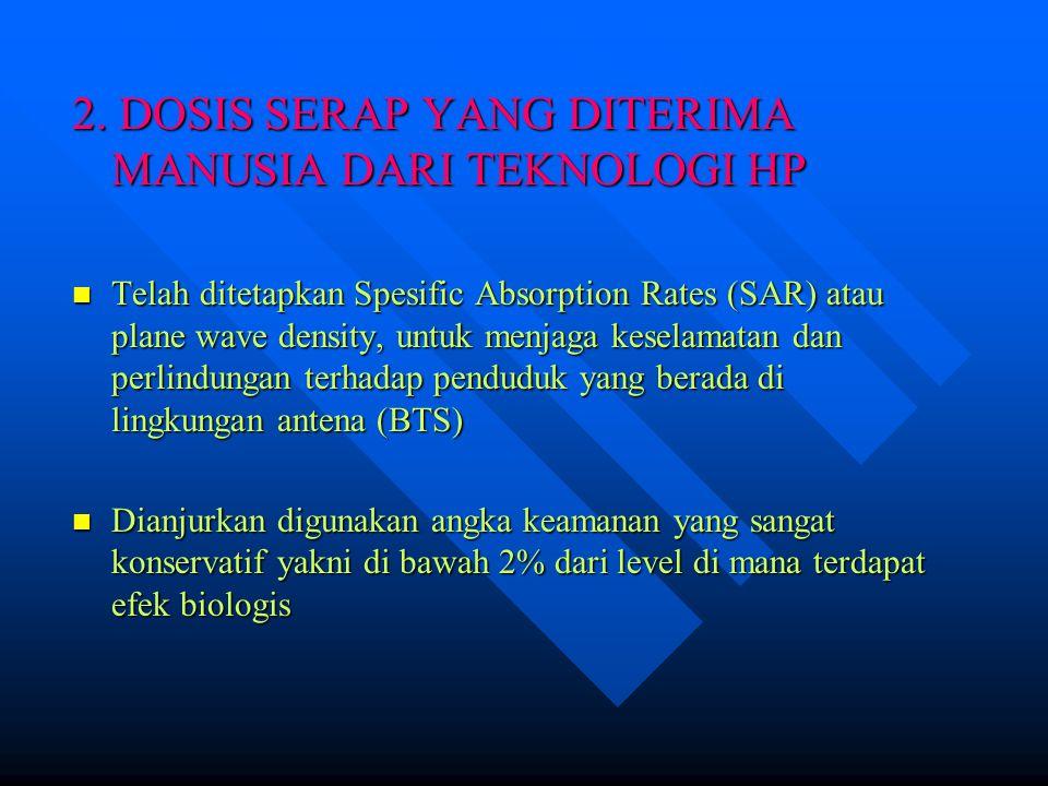2. DOSIS SERAP YANG DITERIMA MANUSIA DARI TEKNOLOGI HP Telah ditetapkan Spesific Absorption Rates (SAR) atau plane wave density, untuk menjaga keselam