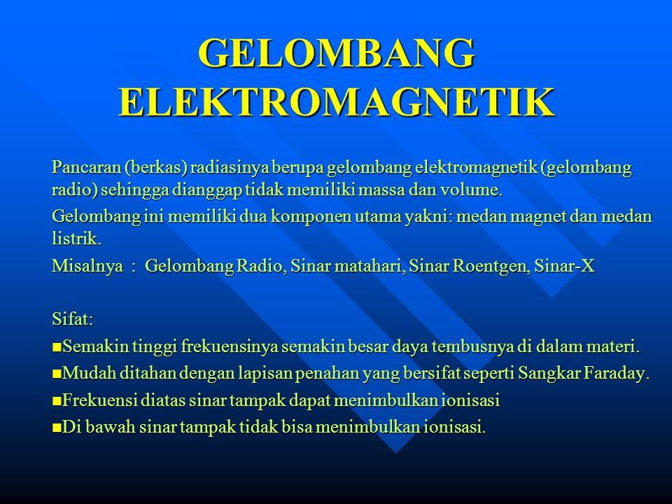GELOMBANG ELEKTROMAGNETIK Pancaran (berkas) radiasinya berupa gelombang elektromagnetik (gelombang radio) sehingga dianggap tidak memiliki massa dan v