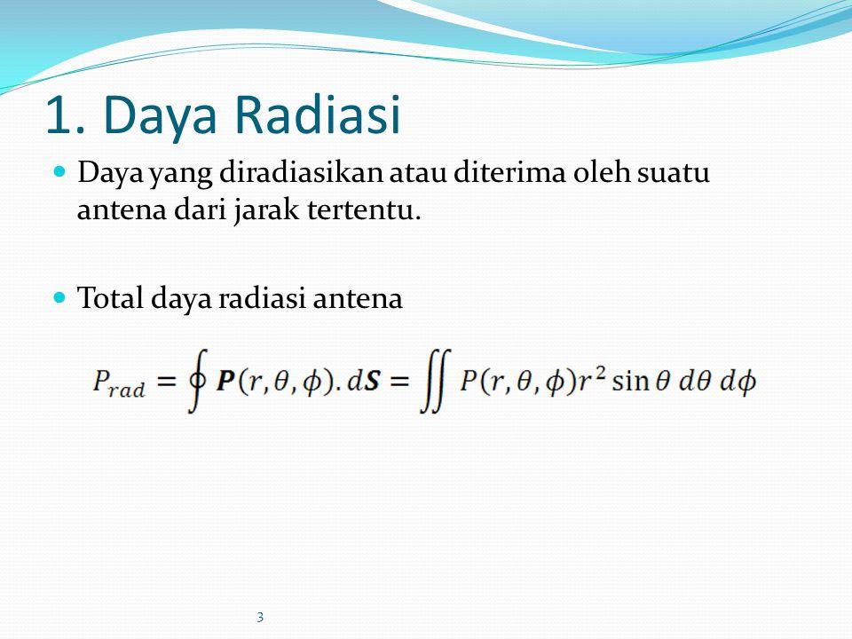 1. Daya Radiasi Daya yang diradiasikan atau diterima oleh suatu antena dari jarak tertentu. Total daya radiasi antena 3