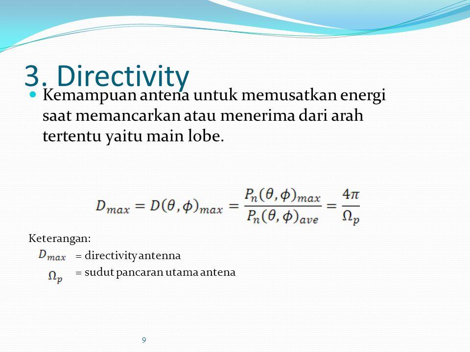 3. Directivity Kemampuan antena untuk memusatkan energi saat memancarkan atau menerima dari arah tertentu yaitu main lobe. Keterangan: = directivity a