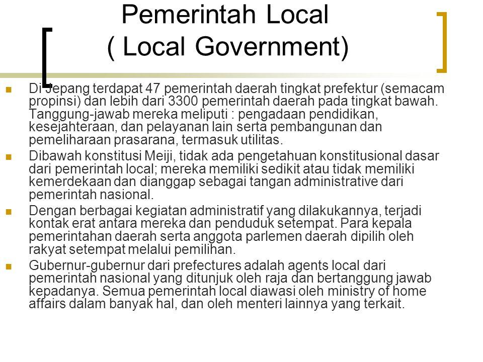Pemerintah Local ( Local Government) Di Jepang terdapat 47 pemerintah daerah tingkat prefektur (semacam propinsi) dan lebih dari 3300 pemerintah daerah pada tingkat bawah.